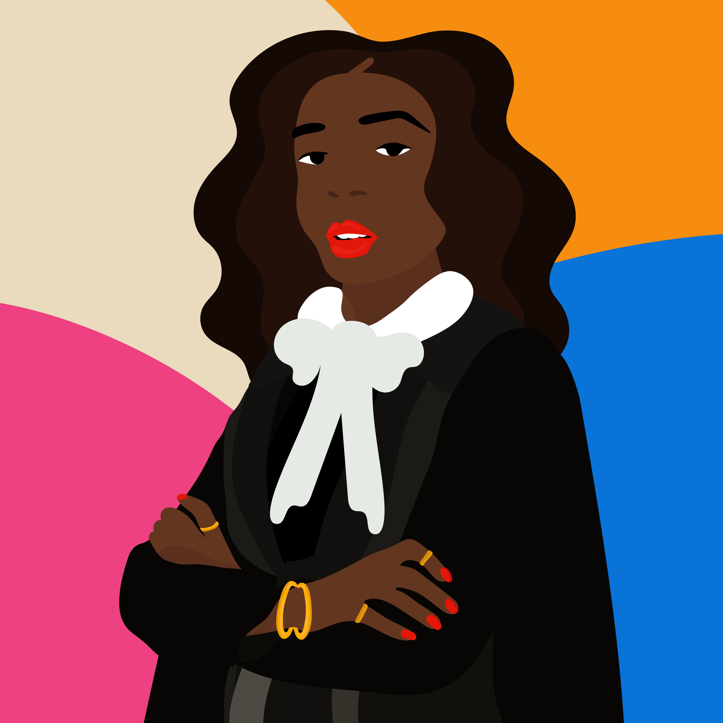An Illustration of a black woman in a judge's robe on a colorful background.